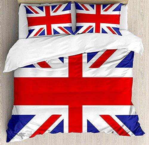 Full Size Union Jack 3 PCS Duvet Cover Set, Classic Traditional Flag United Kingdom Modern British Loyalty Symbol, Bedding Set Bedspread for Children/Teens/Adults/Kids, Royal Blue Red White