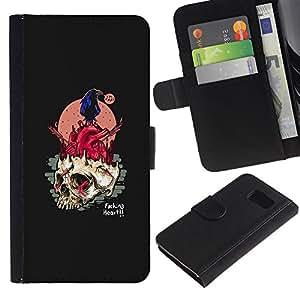 KLONGSHOP // Tirón de la caja Cartera de cuero con ranuras para tarjetas - Arte Fuking Corazón Pop - Samsung Galaxy S6 //