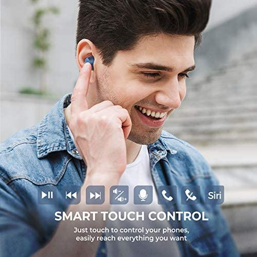 Wireless Earbuds, Mpow M13 Bluetooth Headphones in Ear, Wireless Charging&USB-C Charging Bluetooth Earphones Sport, w/Punchy Bass/ IPX8 Waterproof/28 Hrs/Twin&Mono Mode/Touch Control/Mics