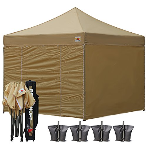 (18+ colors)AbcCanopy Commercial 10×10 Ez Pop up Canopy, Party Tent, Fair Gazebo with 6 Zipped End Sidewalls and Roller Bag Bonus 4x Weight Bag (beige)