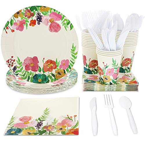 Juvale Watercolor Floral Party Supplies (Serves 24) Plates, Cups, Napkins, Knives, Spoons, Forks