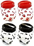 Pet Food Treats Plastic Storage Jars, Paws and Bones, Dogs and Cats, 4-jar Set