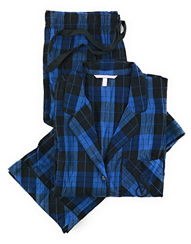 (Victoria's Secret The Dreamer Flannel Pajama Set Blue Black Plaid)