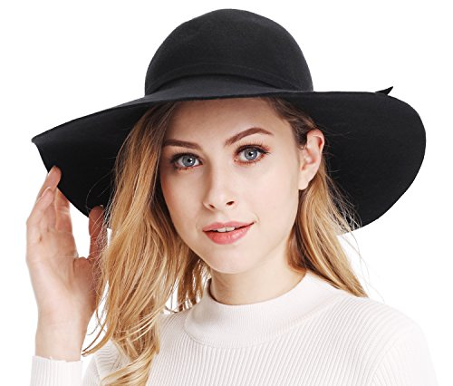 026e3190ae169 Bienvenu Women s Wide Brim Wool Ribbon Band Floppy Hat Black ...