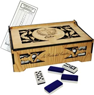 Cuban Style Domino Deluxe Double Nine Set in a Beautifully carved wood box. Score Pad