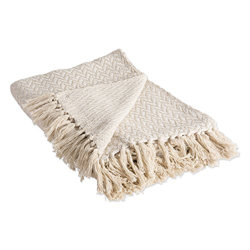 DII 100% Cotton Throw Blanket, with Decorative Fringe, 50 x 60, Natural Zig-Zag