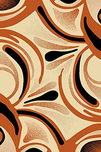 PlanetRugs Inc Premium 3D Effect Hand Carved Modern Abstract Contemporary 5X8 5×7 Colorful Luxury Rug for Bedroom, Living Room, Dining Room 326 Terracotta