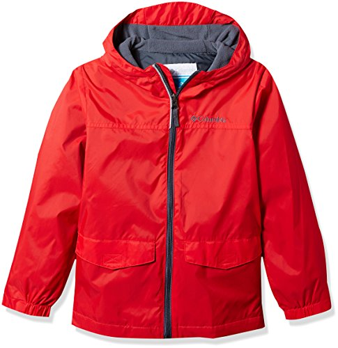Lined Red Jacket - Columbia Big Boys' Rain-Zilla Jacket M, Bright Red, M