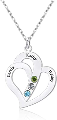 Personalized Birthstone /& Initial Necklace Birthday Gift New Mom Gift Name Necklace Custom Jewelry Mother Necklace Stainless Steel BFF Gift