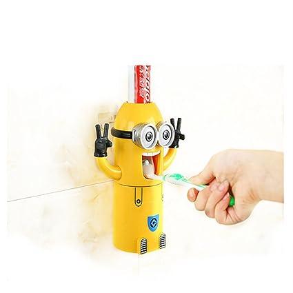 Automático dispensador de pasta de dientes pasta de dientes exprimidor Cartoon Minions manos libres Soporte para