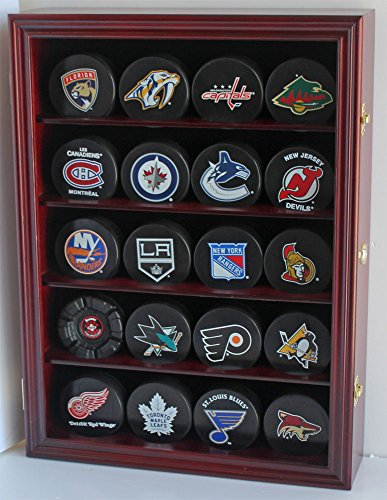 Hockey Puck Display Case Shadow Box Wall Cabinet (Pucks not inlcuded), UV Protection Door (Cherry) (Shadow Box Safe)