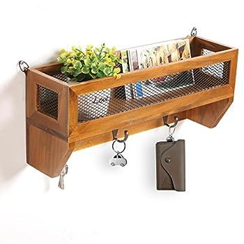MyGift Country Rustic Dark Brown Wood & Metal Wall Mounted Storage Wire Mesh Basket Rack w/Coat Hooks