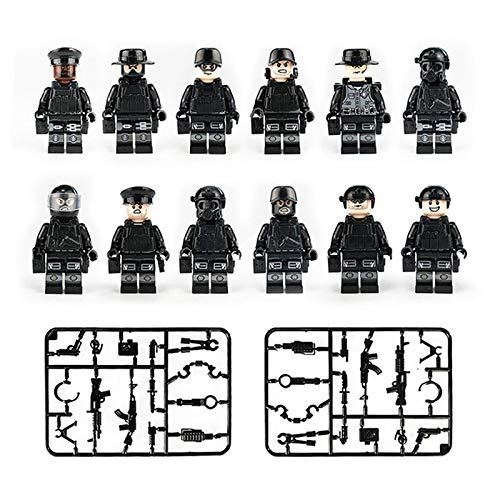 12PCS/Set Military Soldiers, Swat, Brick, Block, Lock, Toy Building Blocks with Guns and Accessories