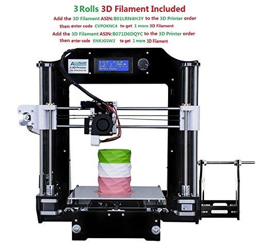 ALUNAR® Upgraded DIY Desktop 3D Printer Reprap Prusa i3 Kit, High Accuracy...