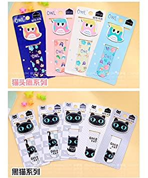 Happy Star/® Magnetic Owls Black Cats Bookmarks For Books Cute Book Markers With Magnet 4 Designs(Owls)