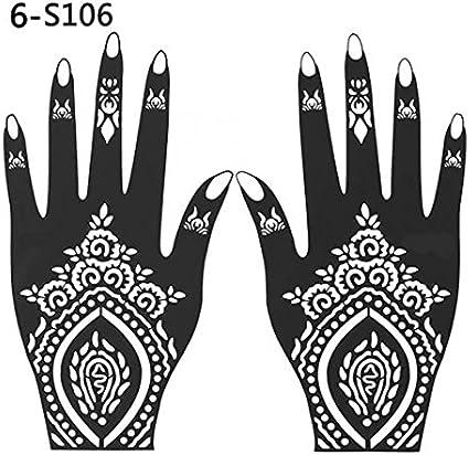 Henna - Plantilla de tatuaje de mano temporal, 2 unidades, 106 ...