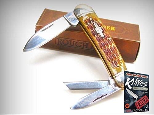 ROUGH RIDER Amber Jigged Bone WHITTLER 3 Blade Folding Pocket Knife! 001375 + free eBook by (3 Blade Whittler Knife)
