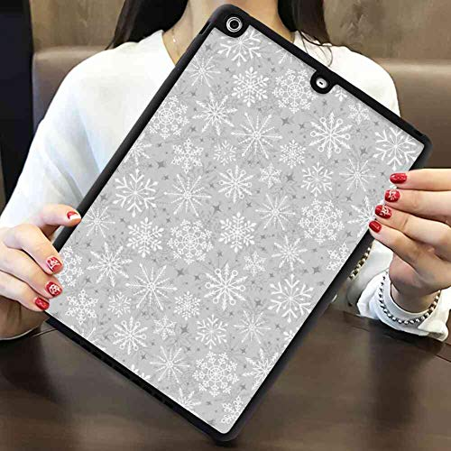 TPU+PC Case for iPad 5 (2013) | iPad Air (2013) [9.7-Inch] Christmas Various Types of Ethnic and Tribal Snowflakes Arrows Stars in The Cold Winter Silver White ()