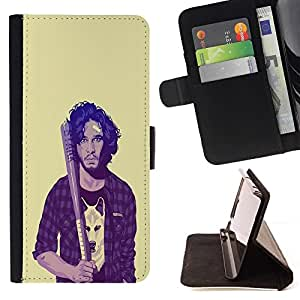 BETTY - FOR Apple Iphone 6 - Thrones Snow Wolf Hipster - Style PU Leather Case Wallet Flip Stand Flap Closure Cover