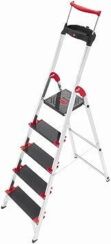 Hailo 8895-001 - Escalera plegable de aluminio (5 escalones, hasta 225 kg): Amazon.es: Hogar