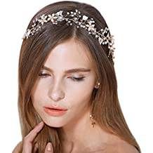 FAYBOX Bridal Vintage Crystal Pearl Hairbands Wedding Hair Accessories (Gold-tone)