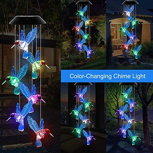 Mosteck LED Solar Hummingbird Wind Chime Color Changing Waterproof Solar Mobile Wind Chime Outdoor Mobile Hanging Patio Light for Home Party Night Garden Decoration