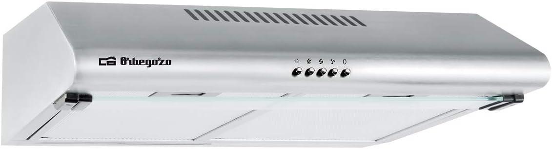 Orbegozo ST 07260 D IN - Campana extractora standard 60cm, 2 motores de 80 W, 3 niveles de potencia, 2 filtros de aluminio desmontables, extracción 347,4 m3/h, iluminación LED