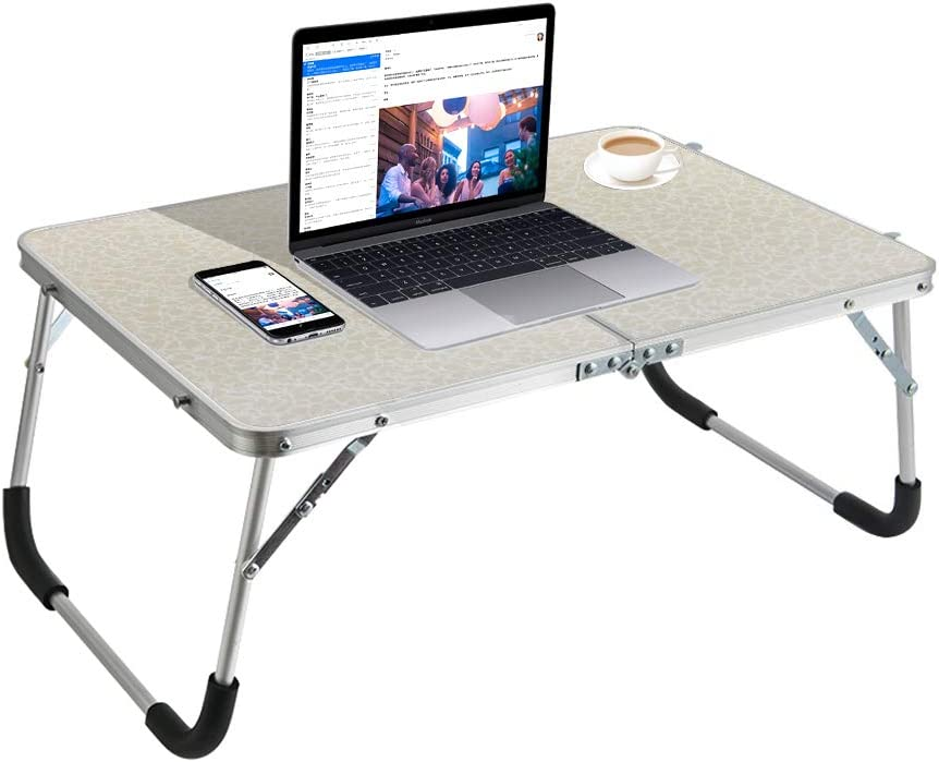 Outry Foldable Laptop Table, Lightweight Bed Desk, Breakfast Serving Bed Tray, Portable Mini Picnic Table, Standing Laptop Desk for Bed/Couch/Sofa Working, Writing, Reading (White Flower)