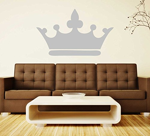 Princess Wall Decals Crown Pink, Gray, Gold, Silver - Home Decor for Girls Room - Queen Tiara Decoration