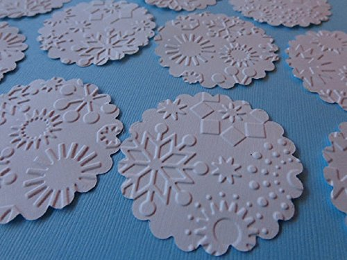 White Snowflake Embossed Scallop Circle Tags - 2