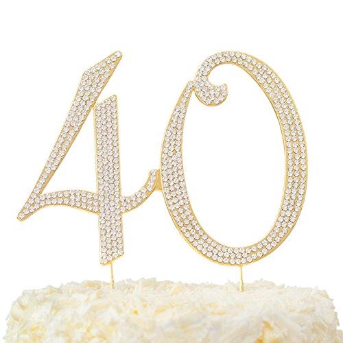 LOVENJOY - Gift Box - 40 Rhinestone Cake Topper for 40th Birthday Anniversary Decoration Gold, 6 X 4.5