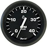 Faria Euro Black 4'' Tachometer - 4,000 RPM (Diesel - Mechanical Takeoff & Var Ratio Alt)