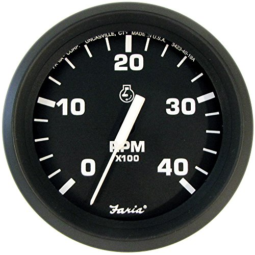 Faria Euro Black 4'' Tachometer - 4,000 RPM (Diesel - Mechanical Takeoff & Var Ratio Alt) by Faria Beede Instruments