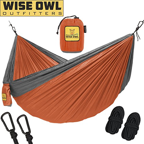Hammock for Camping Single & Double Hammocks - Top Rated Best Quality Gear For The Outdoors Backpacking Survival or Travel - Portable Lightweight Parachute Nylon DO Orange & - Camping Summer
