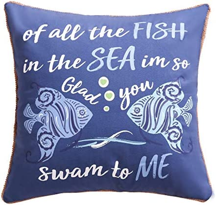 Levtex home – Laida Beach – Decorative Pillow 20 X 20in. – Tropical Fish – Navy, Turquiose and White