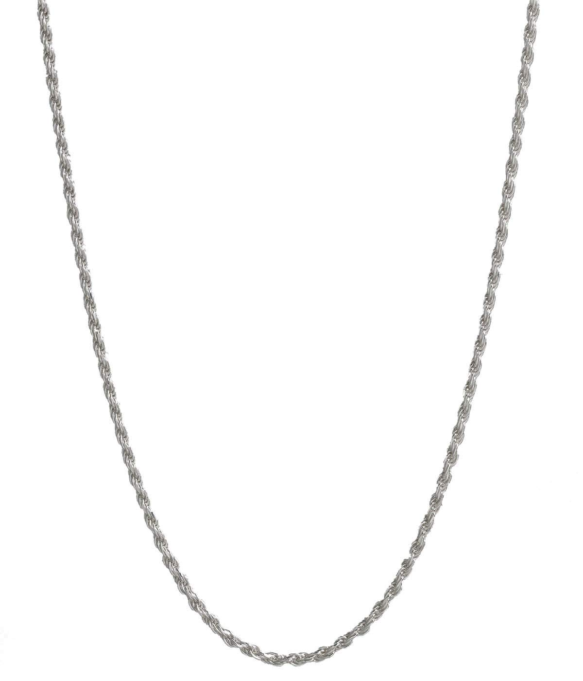 Pori Jewelers Platinum 950 Solid Diamond Cut Rope Chain Necklace -2.0mm Thick (18)