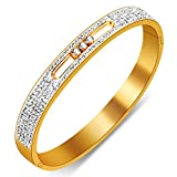 Yeemer Stainless Steel Bracelet Bangles with Inlaid Sparkling Swarovski Crystals Full diamonds 7.09''inches (Yellow gold color)