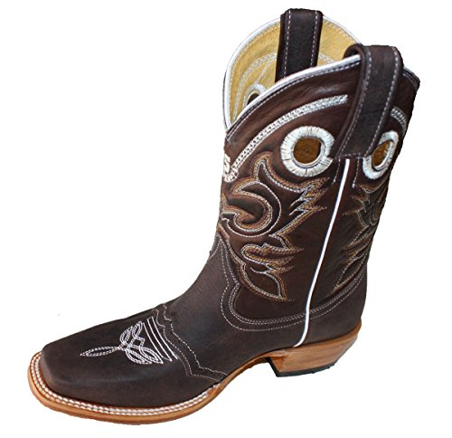 Women's Leather Cowboy Boots Roper Western Rodeo Biker Chick