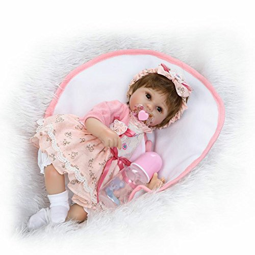 China Girl Vinyl Wig (Reborn Baby Dolls Soft Vinyl Silicone 16 Inch Life Like Newborn Kids Toys with Magnet Pacifier Short Wig)