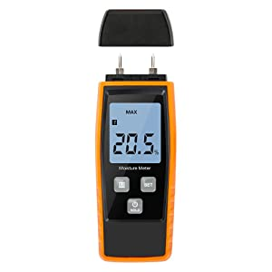 Wood Moisture Meter, Upgrade Moisture Detector Wood Portable Water Moisture Tester for 8 Material Type Selection Moisture Detector with Digital LCD Pin Type, Range 0% ~ 80%, accuracy: ± 2%)