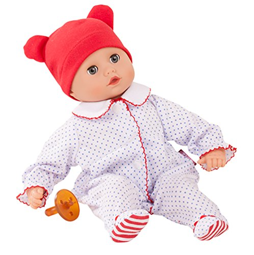 "Gotz Boy Muffin 13"" - Bald Soft Body Baby Doll in Red White & Blue Footed Pajamas with Blue Sleeping Eyes"