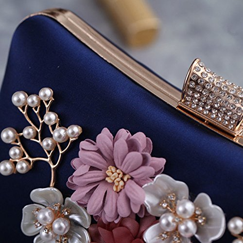 Dress Evening Small Party Pearl Bag Blue Polyester Clutch Women's Bag Flowers Bag qBxzC8nt