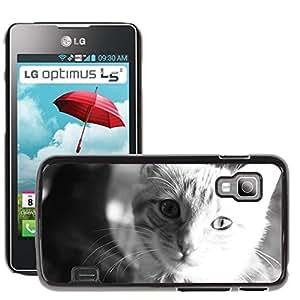 Hot Style Cell Phone PC Hard Case Cover // M00129593 Cat Cat Face Head Black And White // LG Optimus L5 II Dual E455 / E460