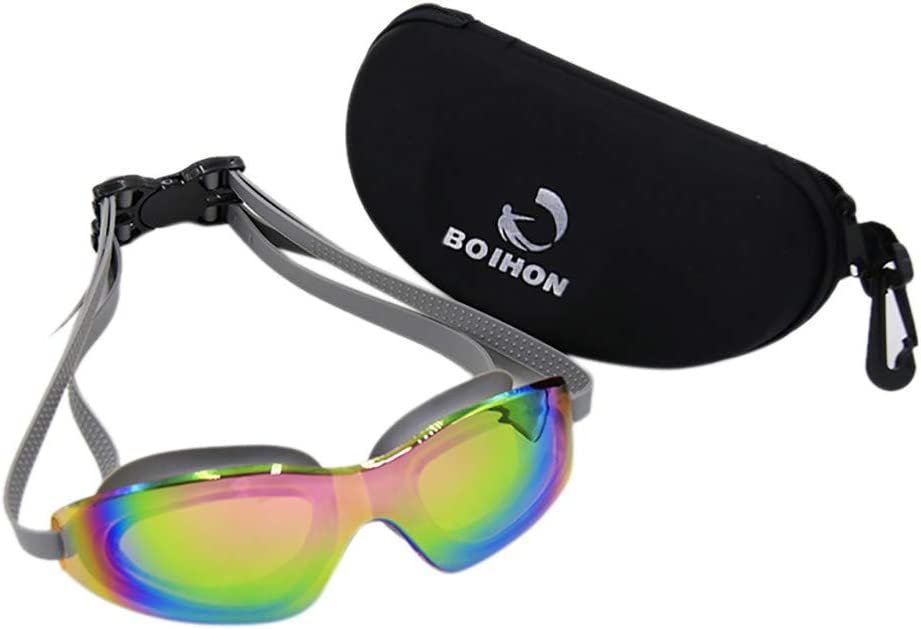CapsA Swim Goggles,Anti Fog Swimming Goggles UV Protection Mirrored Clear No Leaking Triathlon Equipment Waterproof Professional HD Swimming Goggles