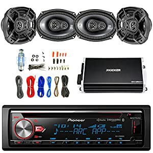 "Pioneer CD Bluetooth Receiver with Enhanced Audio Functions with Kicker 600W 6.9"" CS Series 3-Way Speakers 2-Pairs, Kicker 4 Channel Power Amplifier & Enrock Audio Amplifier Wiring Installation Kit"
