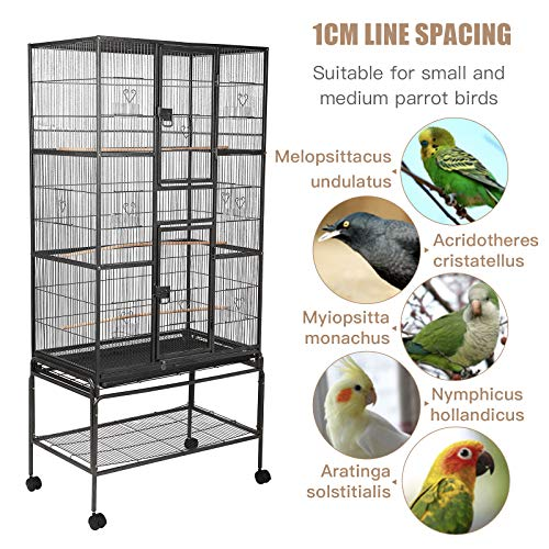 SUNCOO Large Bird Cage for Parrot Budgie Parakeet Cockatoo Cocatiel Iron Bird Aviary with Stand Pet Supply Black (69'' H)