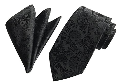 Secdtie Men's Black 100% Silk Self Cravat Tie Tuxedo Narrow width Woven for Gift