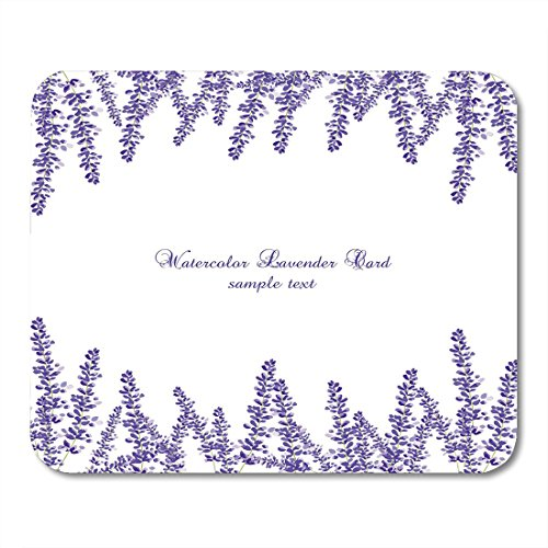Boszina Mouse Pads Purple Lavender Border Gentle Blossom Floral Bouquet Vintage Label with Beautiful Fragrance White Mouse Pad for notebooks,Desktop Computers mats 9.5