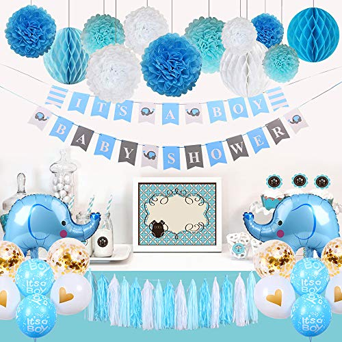Boy Baby Shower Decorations, Elephant Baby Shower Decorations Kit with Shower Banners, Paper Pom Pom Flowers, Honeycomb Balls, Tassel Garland, Elephant and Boy Balloons (White, Blue, Lake -