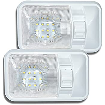 Leisure LED 2 Pack 12V Led RV Ceiling Dome Light RV Interior Lighting for Trailer Camper with Switch, Single Dome 280LM